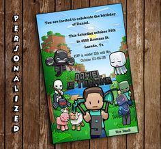 Minecraft Birthday Party Invitation by BearandBunnyCreation
