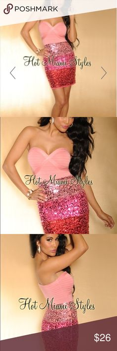 Pink ombré sequin strapless bandage dress Sexy and comfortable pink sequin ombré bandage dress. Great for glamour nights cocktail hours birthday party bachelorette bride Vegas. Sweetheart bandage top neckline  Crisscross banded detail High-shine ombre sequined bodice Fabric: Rayon/Nylon/Spandex Hot Miami Styles Dresses Strapless