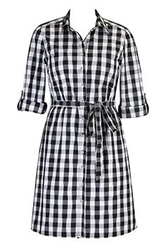 eShakti Womens Gingham check cotton shirtdress