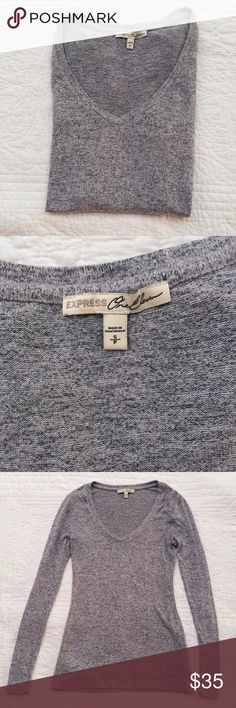 light grey express one eleven long sleeve top this long-sleeved shirt is in near perfect condition. if you know express one-eleven's line — then you know it's super soft! so comfortable, you won't ever want to take this off. stretches.   i don't trade, feel free to make me an offer 🙂 Express Tops Tees - Long Sleeve