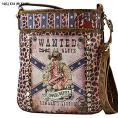 Womens Messenger Crossbody Western COWGIRL WANTED Bag Pink Leopard Rhinestone #MessengerCrossBody