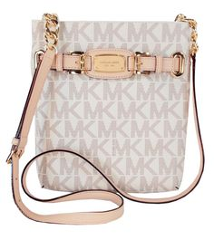 Michael Kors Hamilton Signature Lg Crossbody Shoulder Bag Purse NWT Vanilla  PVC