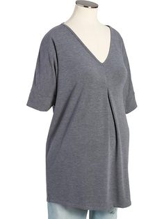 Maternity Pleated-Front V-Neck Tops Product Image