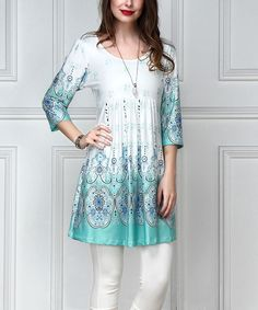 White & Blue Floral Empire-Waist Tunic - Plus Too