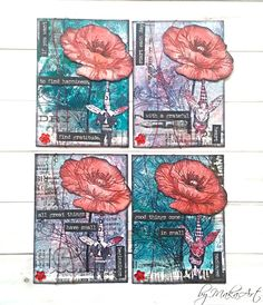 "My mixed media ATC set ""Red poppy"" Welcome to my blog!       Today I would like to show you my latest mixed media ATC sets which I created in my favourite colours violet ..."