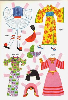 DOLLIES GO 'ROUND THE WORLD  Algeria, Greece, Japan, West Africa* 1500 free paper dolls for small Christmas gits and DIY for Pinterest pals The International Paper Doll Society Arielle Gabriel artist ArtrA Linked In QuanYin5 *