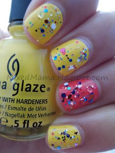 China Glaze Happy Go Lucky and High Hopes topped off with Utopia's End of the Road.