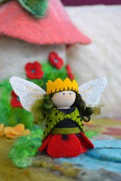 Poppy Flower Fairy Peg Doll Felt and Wood Fairy by LasManitos