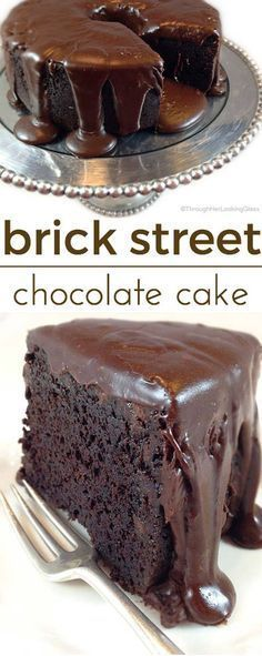 "FAMOUS BRICK STREET CHOCOLATE CAKE - ""Everything you dream of in a rich, dense chocolate cake. Secret ingredients. And a to-die-for ganache frosting.""  oh.my.word.  