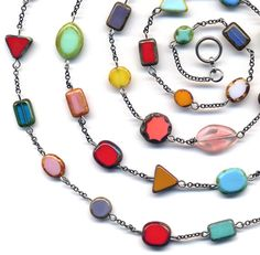 Extra Long Multicolor Necklace Long Colorful Necklace by Annaart72