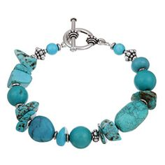 Charming Life Pewter Turquoise Chip Bracelet - Overstock™ Shopping - Top Rated Charming Life Gemstone Bracelets