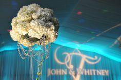 Tall, White Wedding Centerpieces with Crystals - Beach Wedding at Tradewinds Resort in St Petersburg, FL - St. Pete Wedding Photographer Livingston Galleries
