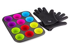 Chefs Star Carbon Steel Cupcake Baking Pan with Removable  Reusable Silicone Cupcake Liners 12 Silicone NonStick Cups Oven Safe Heat Resistant Plus Heat Resistant Heavy Silicone Cooking Gloves >>> Check out this great product.Note:It is affiliate link to Amazon.
