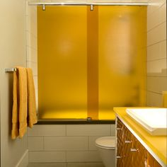 Millcreek Hotel - bright glowing shower screen made with 3form Varia -Curry