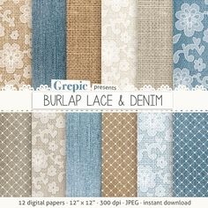 Burlap digital paper BURLAP LACE & DENIM with blue brown by Grepic, $4.90