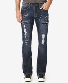 Buffalo David Bitton Men's King-x Bootcut Ripped Jeans - Blue
