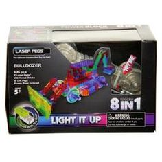 Laser Pegs is the Original Lighted Construction Set that combines two things kids love: light and building! Each kit comes with a range of models to assemble out of Laser Pegs and clear or colourful construction pieces. All of our parts are easy to rearrange and swap so that anyone can build their own light up creations. Build the motorised light up Bulldozer and 7 more light up models like the Front End Loader, Forklift or Mini Excavator…