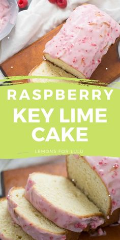 This key lime cake is a tangy sour cream pound cake that is drizzled with a sweet, homemade raspberry glaze. Everything about this easy cake screams happiness!
