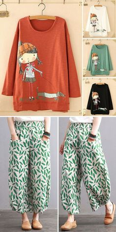 O-neck cartoon print long sleeve casual Sweatshirts and Spring pants for women. Shop now! spring outfit ideas O-neck cartoon print long sleeve casual Sweatshirts and Spring pants for women. Shop now! Cute Spring Outfits, Trendy Outfits, Fashion Outfits, Woman Outfits, Dress Fashion, Womens Fashion, Fashion Sewing, Trousers Women, Pants For Women