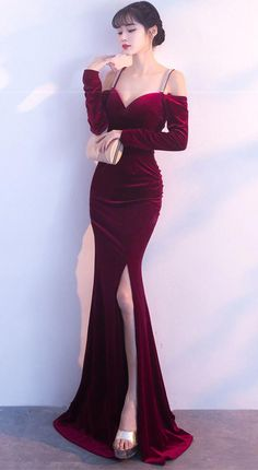 Affordable beautiful elegant dark red velvet gown maxi dress tight bodycon with long sleeves. for gorgeous ladies, pretty women, feminine goddess. Red Velvet Dress, Velvet Gown, Dinner Gowns, Evening Dresses, Fashion Show Dresses, Dress Outfits, Dress Fashion, Dark Red Dresses, Elegant Dresses