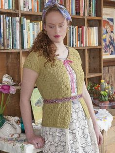 Glynde lace top knitting pattern in the Rooster Village Living pattern book- get it at Laughing Hens