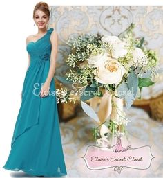 This dress is beautiful A classic feminine full length chiffon maxi occasion wedding bridesmaid dress in a beautiful teal colour Flattering one