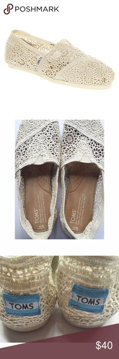 Cream Lace Toms Adorable shoes in great condition. Worn on a 4 day trip, and then it's just been in my closet. Needs a good home! They are so cute. Would fit 6 or 6.5                                                                  Please use the offer button  No trades  No offline transactions   Smoke free - Pet free home  Happy Poshing! ❤️ TOMS Shoes Flats & Loafers