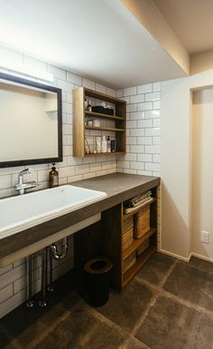 モルタルのカウンターが印象的な洗面所。 in 2020 Hotel Interiors, Ideal Home, Powder Room, Double Vanity, Home Interior Design, My Dream Home, Toilet, Sink, House Design