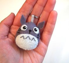 Grey Totoro plush charm with keychain by yael360 on Etsy