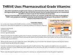 Thrive is made up with pharmaceutical grade vitamins. Only the best! That's why we have thousands of customers loving their #Thrive #Experience.  We have a world renowned naturopathic doctor, scientific nutritional panel of experts behind our products who has been building formulas and products for a cumulative 250 years of experience. We use only the purest and safest ingredients!