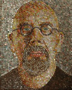 More bottle cap art, by Molly B. Wright. Chuck Close would be proud!