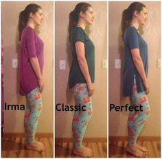 Three of the shirts LuLaRoe has.  The Irma, the Classic, and the Perfect.  They all hang low enough in the back to have full coverage.  The Perfect can even be tied at the sides for a different, more fitted look.