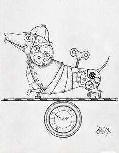 Steampunk Clockwork Dachshund dog WIP by EpHyGeNiA gears sprockets wind-up Tattoo Flash Art ~A.R.