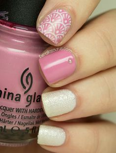 """I used a coat of China Glaze Dandy Lyin' Around followed by two coats of Barry M White Pearl for the white accents. The pink is China Glaze Pink-ie Promise. I added a few 1mm pearls and some stamping from MoYou Sailor Collection 05 plate with BK Matte White polish."""