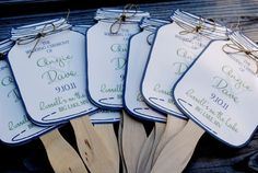Mason Jar fans for guests! Too cute...