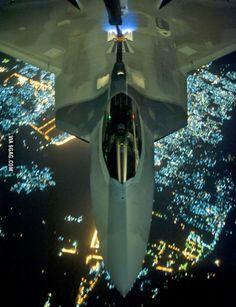 F-22 Raptor refueling at night over the skies of Syria