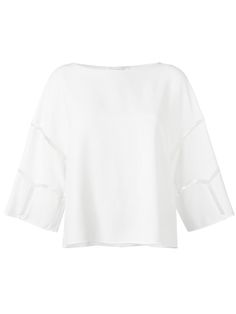¡Cómpralo ya!. Chloé - Cut Out Seam Top - Women - Cotton/Polyester/Acetate/Viscose - 38. The Chloé collection combines Brit-girl cool with Parisian glamour. This milk white cotton blend cut out seam top from Chloé featuring a boat neck, a boxy fit, three-quarter length sleeves and a straight hem. Size: 38. Gender: Female. Material: Cotton/Polyester/Acetate/Viscose. , tophombrosdescubiertos, sinhombros, offshoulders, offtheshoulder, coldshoulder, off-the-shouldertop, schulterfreiestop, to...