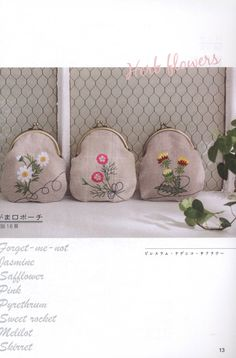 hand embroidery botanical linen purse pattern by LibraryPatterns