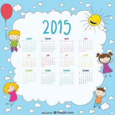 2015年日历的快乐的孩子画