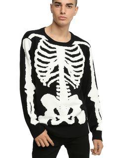 <p>Show your bones. Well... not your bones, specifically, but someone's bones. Because this black knit sweater has an awesome white rib cage, arm boneand pelvic bone design.</p>  <ul> <li>55% cotton; 45% acylic</li> <li>Hand wash; dry flat</li> <li>Imported</li> <li>Listed in men's sizes</li> </ul>