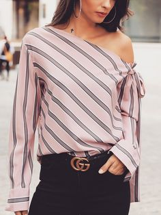 Stripes Skew Neck Knotted Sleeve Blouse Women's Online Shopping Offering Huge Discounts on Dresses, Lingerie , Jumpsuits , Swimwear, Tops and More. Trend Fashion, Look Fashion, Womens Fashion, Feminine Fashion, Ladies Fashion, Spring Fashion, Trendy Outfits, Fashion Outfits, Fashion Tips
