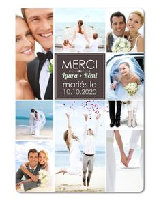 A collage of wedding photos is the perfect way to say thank you to your guests. Choose this elegant & contemporary design to showcase your wedding thanks. Wedding Thanks, Wedding Thank You Cards, Wedding Matches, Travel Themes, Communion, Save The Date, Marie, Destination Wedding, Wedding Photos
