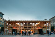 This pop-up wooden theatre in Southampton, England, was designed by London architecture collective Assemble to look like a cross between a performance venue and a football stadium (+ slideshow).