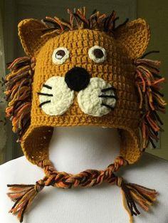 Crochet Lion Hat Lion Hat Character Hat Animal by HaniasCreations Crochet Lion, Crochet Animal Hats, Crochet Daisy, Crochet For Boys, Crochet Baby Hats, Crochet Beanie, Knitted Hats, Free Crochet, Halloween Crochet