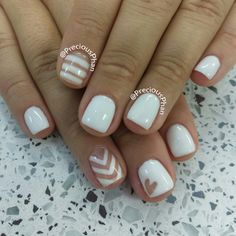 White lines, hearts and chevron nails