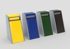 Public trash can / metal / concrete / recycling EDGE SIT URBAN DESIGN