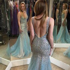 Charming Prom Dress,Tulle Prom Dress,Mermaid Prom Dress,V-Neck Prom Dress,Beading Prom Dress Backless Prom Dress,V-Neck Prom Dress