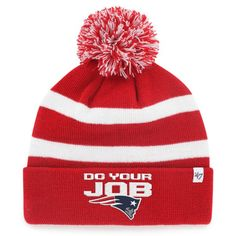 1d814125f506a Do Your Job Knit Hat-Red White. New England Patriots ...