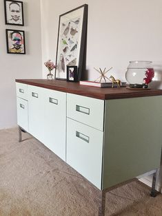 Design*Sponge Before & After: A Craigslist Credenza Gets Dressed Up Cute Furniture, Diy Furniture Projects, Furniture Makeover, Home Projects, Credenza Decor, Guest Room Office, Home Decor Accessories, Architecture, Decoration