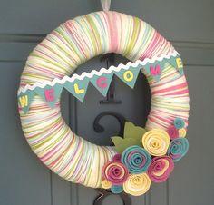 Yarn Wreath Felt Handmade Door Decoration - Sweet Greetings 12in.